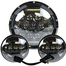 """7"""" Led Projector Daymaker Headlight + Passing Lights For Harley Touring Black 3"""
