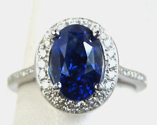 Blue Sapphire Ring Halo UNTREATED CERTIFIED 3.73ct. 18K gold Appriasal $26,572