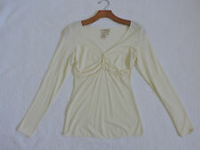 MSSP MAX STUDIO SPECIALTY PRODUCT CREAM LONG SLEEVE EMPIRE WAIST TOP SZ XS