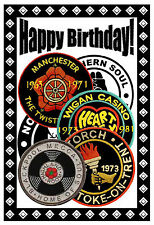 Northern Soul - Birthday Card (Patches) - Gloss Finish - Brand New.