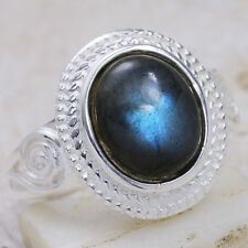 5Ct Labradorite 925 Solid Sterling Silver Victorian Style Ring Size 9 GR664