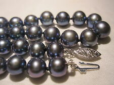 "VTG 14K GOLD CLASP AAA QUALITY GENUINE TAHITIAN 7.6 mm BLACK PEARL 21"" NECKLACE"