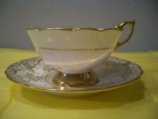 ROYAL STAFFORD TEA CUP AND SAUCER  SET GRAPE VINES  GOLD/WHITE