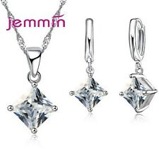 Fashion Silver Necklace Earring Jewelry Sets Clear Cz Crystal Bridal Wedding Set