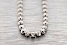"""14k White Gold Finish .925 Silver MOON CUT 28"""" CHAIN 3MM Beaded MENS Hip Hop"""