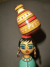 """VINTAGE WOOD DOWEL SPINDLE DOLL ETHNIC POTTERY WATER JUG  HIGH GLOSS FINISH 9+"""""""