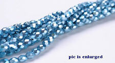 100 Turquoise Sparkle Faceted Czech Glass Beads 4MM