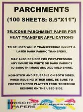 "SILICONE PARCHMENT PAPER FOR HEAT TRANSFER APPLICATION (8.5""x11"") 100 SHEETS/PK"