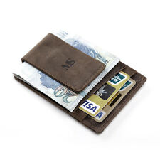 Mens Genuine Leather Money Clip Slim Pocket Wallet ID Credit Card Holder Brown