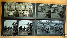 EGYPT 4 Occupational Stereoviews 3D Social History Water carriers Farmers Thresh