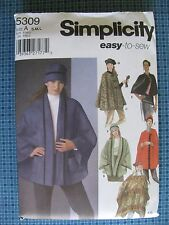 Simplicity #5309 ~ Misses Poncho Capes Hat Sewing Pattern Sizes 10-20 UNCUT
