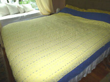 "POTTERY BARN Full Queen PICK-STITCH HEM-STITCH QUILT Yellow Blue 88"" x 92"""