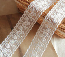 "3 Yards Lace Trim Ivory Tulle Rose Floral Embroidery Wedding Bridal 1.37"" width"