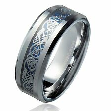 8MM Blue Celtic Dragon unisex Tungsten Carbide Ring Wedding Band Size 16