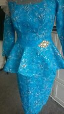 Celebrity inspired detachable waist band style African  Lace Dress size 12-14
