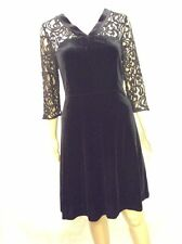 NEW M&S Ladies Long Sleeve Black Lace Short Dress, Beautiful Velvet Design, 14