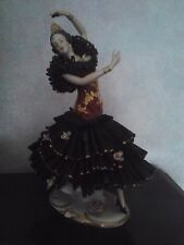 German Dresden Porcelain Lace Figurine - Dance lady with black Skirt