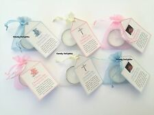 30 Christening Day DIY Organza bag, Candle & Personalised Tag Favours with photo