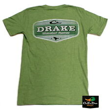 NEW DRAKE WATERFOWL SYSTEMS VINTAGE LOGO S/S T-SHIRT GREEN HEATHER SMALL
