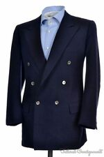 BRIONI Blue Woven Double Breasted MOP Button Wool Sport Coat Jacket Blazer - 40