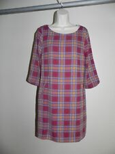 PINK OWL WOMENS DRESS LARGE BURGUNDY PLAID VINTAGE LOOK WOMENS NWT