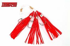 5 TRONIX RED MUPPET RIGS 3 HOOK 7/0 SEA FISHING COD SQUID UPTIDE BOAT ROD LURES