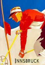 Art Poster Innsbruck Ski Travel  Print
