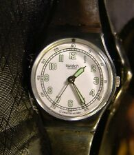 Women's SWATCH ANDANTE Black Glow Hands White Face Retro Watch 1994 LB138 Works!