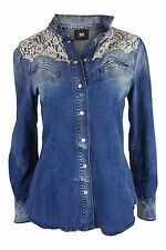 *DOLCE & GABBANA* DENIM AND LACE SHIRT (44)