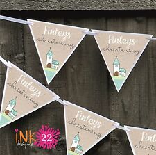 Personalised Christening Baptism Party Decoration Banner Bunting Sign New Baby