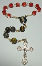 Tigereye & Fossil Agates Handmade in the USA Divine Mercy Single Decade Rosary