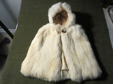 VIINTAGE CHILD'S REAL RABBIT FUR HOODED CAPE