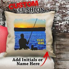 Personalised Fishing Vintage Cushion Custom Canvas Cover Gift NC083