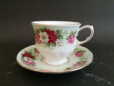 Vintage Queen Anne Pink & Red Roses and Gold Trim Molded Tea Cup and Saucer