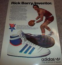 LAMINATED PIC AD 1979 Rick Barry Inventor Adidas Basketball Hightop Shoes 70's
