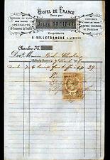 """VILLEFRANCHE-de-ROUERGUE (12) HOTEL DE FRANCE """"Jules ORCIBAL"""" en 1888"""