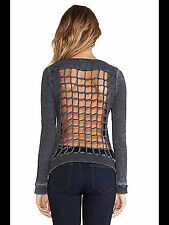 New $77 CHASER KNOT OPEN CAGE GRID BACK GRAY L/S LONG SLEEVE TEE TSHIRT TOP S SM