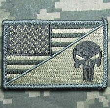 PUNISHER SKULL USA AMERICAN FLAG ARMY MORALE TACTICAL ACU LIGHT HOOK PATCH