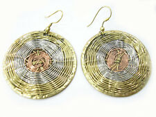 Pair India Delicate Braided Copper Brass Filigree Big Medallion Dangle Earrings
