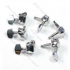 Semiclosed Guitar Steel String Tuning Pegs Tuners Chrome Machine Heads 3L3R