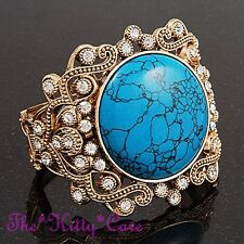 Vintage Victorian Scroll Turquoise Stone Gold Bracelet Cuff w/ Swarovski Crystal