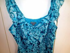 Ann Taylor Turquoise Green Blouse Silk Tank Line Ruffles  NWOT   Size M