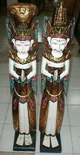 "Bali DEWI Legong Rama Sita PAIR handmade wood statue Indonesia 39"" high WHITE"