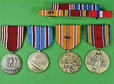 4 WWII Army Medals & Ribbon Bar for Service in the Pacific - Philippines WW2