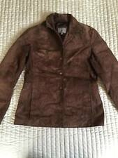 M&S PER UNA SUEDE GENUINE LEATHER JACKET BROWN SIZE 12
