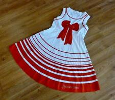 I Pinco Pallino Girls Red & White Nautical Style Striped Bow Dress Age 8 ch