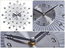 Modern 2016 Cristallo Jeweled perline orologio da parete Sunburst filo d'argento Room Decor