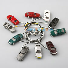 10pcs Flaring Light Painted Model Cars Wires N Scale 1:150 Building Train Layout
