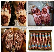 12  PURE BROWN Fresh Quality Kaveri Natural Henna Mehndi Tattoo Cone + FAST POST
