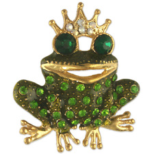 Crystal Rhinestone Frog Prince Brooch NEW MADE WITH SWAROVSKI ELEMENTS